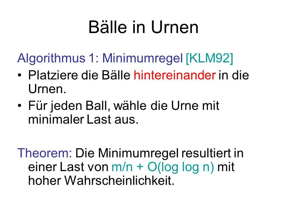 Bälle in Urnen Algorithmus 1: Minimumregel [KLM92]